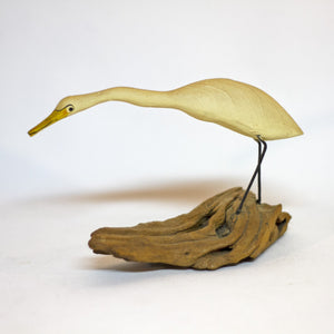 Hand Painted and Carved LONG-NECKED CRANE WOOD SCULPTURE Circa 1980s