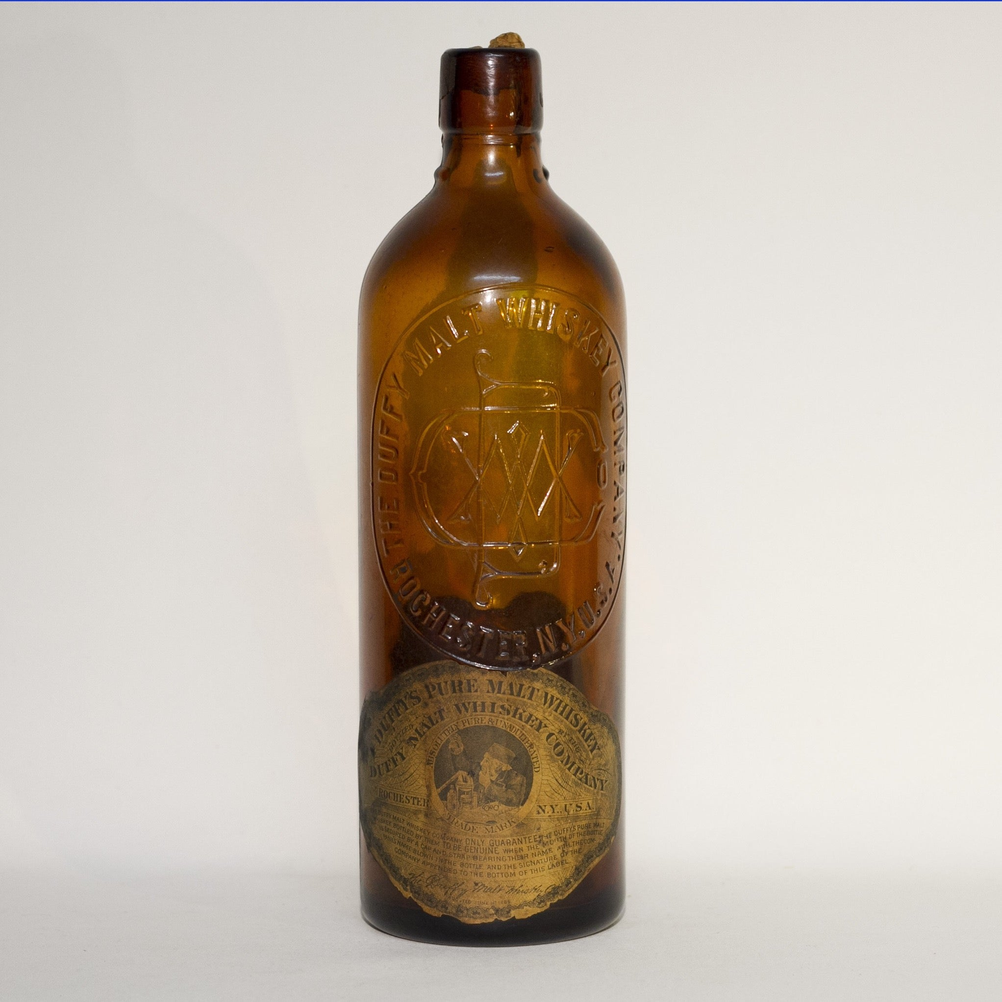 Amber Glass DUFFY'S PURE MALT WHISKEY Bottle With Original Duffy Paper Labels Circa 1910