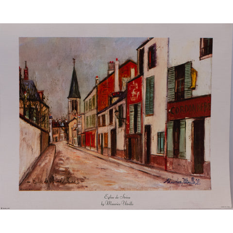 Eglise de Strins Lithograph Print on Canvas by Maurice Utrillo