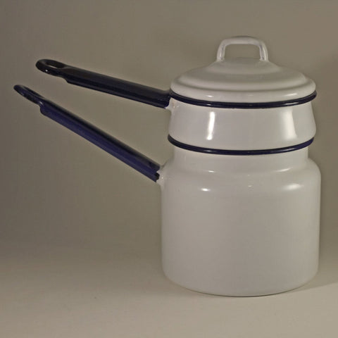 ENAMEL WARE DOUBLE BOILER White with Dark Blue Handles Circa 1940