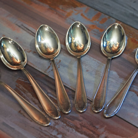 SILVER PLATE CHOCOLATE or COFFEE SPOONS Set of Six (6)