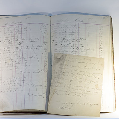 Original 1887 MANUSCRIPT BLACKSMITH WORK LEDGER for Cornelius Klump