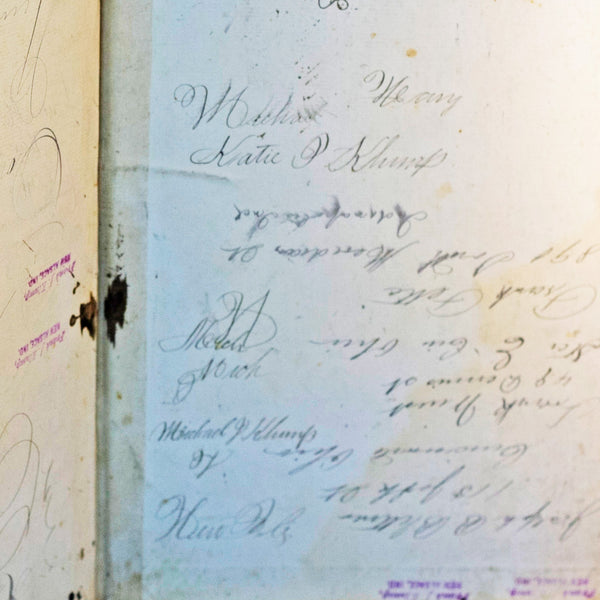 Rare 19th Century MANUSCRIPT WORK LEDGER Kept by Blacksmith CORNELIUS KLUMP of New Alsace, Indiana Dated 1887 to 1889