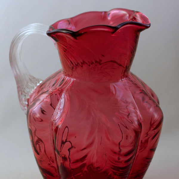 FENTON CRANBERRY GLASS Pitcher with Embossed Fern Design and Reed Design Handle