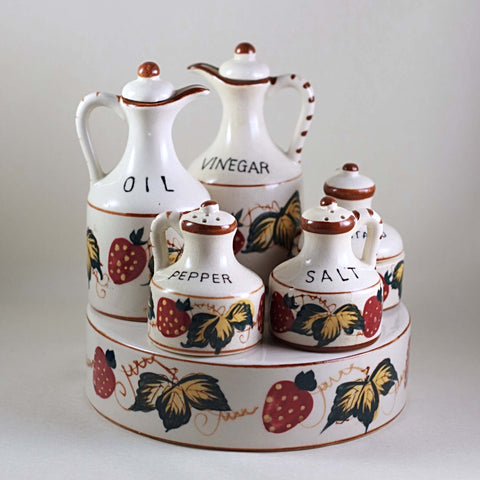 Fred Roberts Company San Francisco MADE IN JAPAN CRUET SET Decorated with Strawberries Circa 1950s