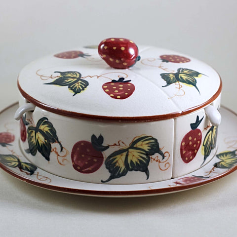 Fred Roberts Company San Francisco MADE IN JAPAN MARMALADE SET Decorated with Strawberries Circa 1950s