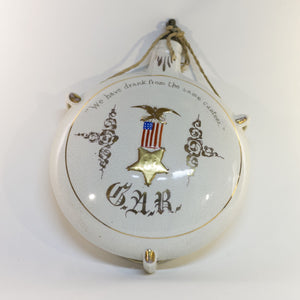 GRAND ARMY OF THE REPUBLIC (G.A.R.) Civil War Veteran CERAMIC CANTEEN Circa Late 1800s