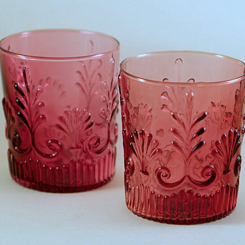 PILGRIM CRANBERRY Glass Adams Pattern Old Fashioned Glasses (Set of 2) Early Vintage Pattern