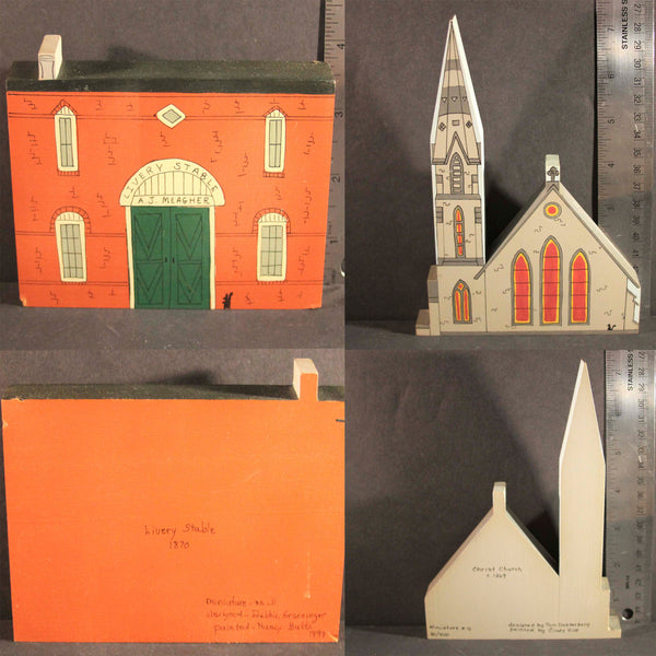 GLENDALE OHIO HISTORIC LANDMARKS MINIATURES Limited Edition Livery Stable 1870 Christ Church Circa 1869