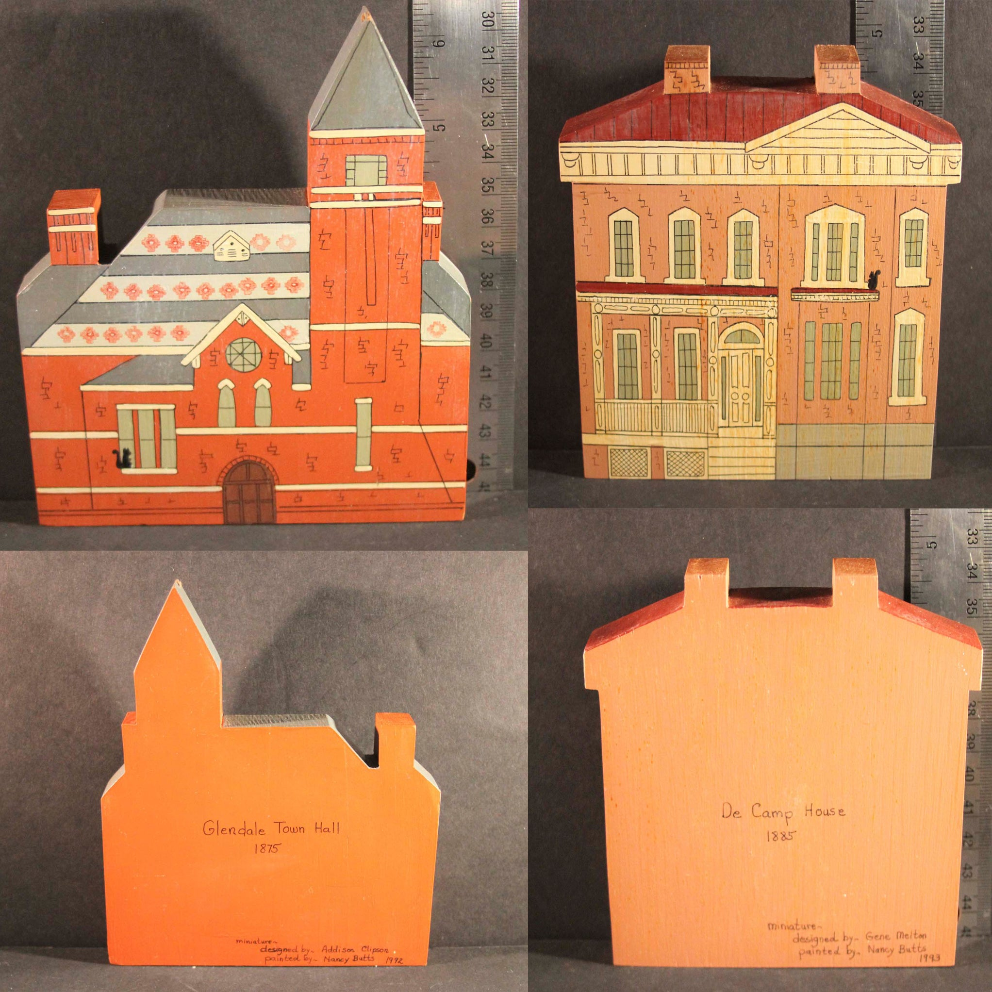 GLENDALE OHIO HISTORIC LANDMARKS MINIATURES Limited Edition Glendale Town Hall 1875 De Camp House 1885