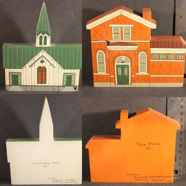 GLENDALE OHIO HISTORIC LANDMARKS MINIATURES Limited Edition Swedenborgian Church 1861 Police Station 1871