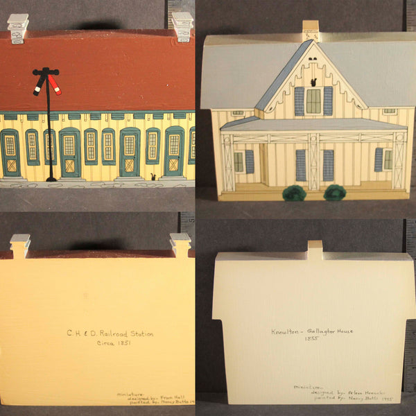 GLENDALE OHIO HISTORIC LANDMARKS MINIATURES Limited Edition C.H. & D Railroad Station Circa 1851 Knowlton Gallagher House 1855