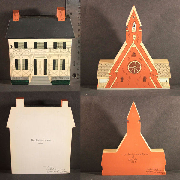 GLENDALE OHIO HISTORIC LANDMARKS MINIATURES Limited Edition Harkness House 1852 First Presbyterian Church of Glendale 1860