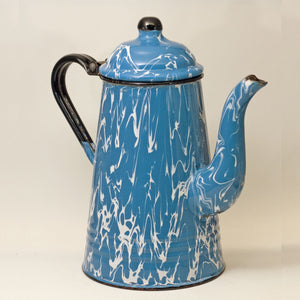 GRANITE WARE GOOSENECK TEAPOT Blue and White Swirl Circa 1880 - 1920