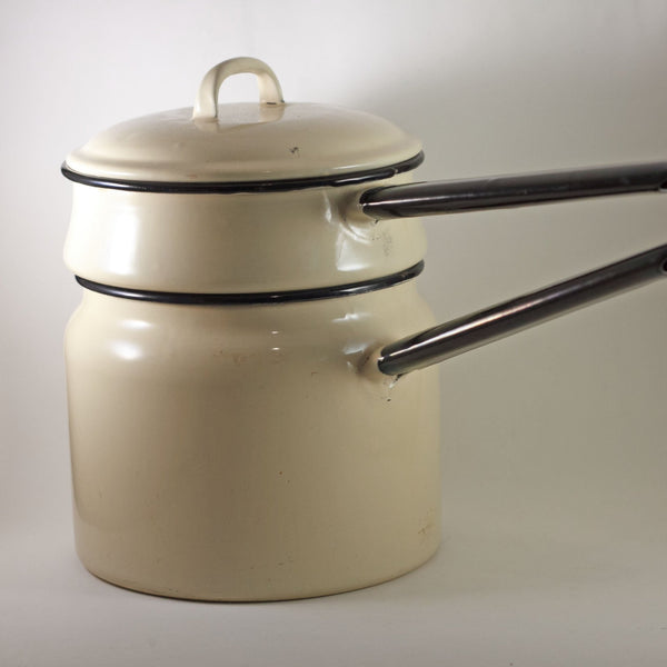 ENAMELWARE DOUBLE BOILER Beige with Black Handles Circa 1940s