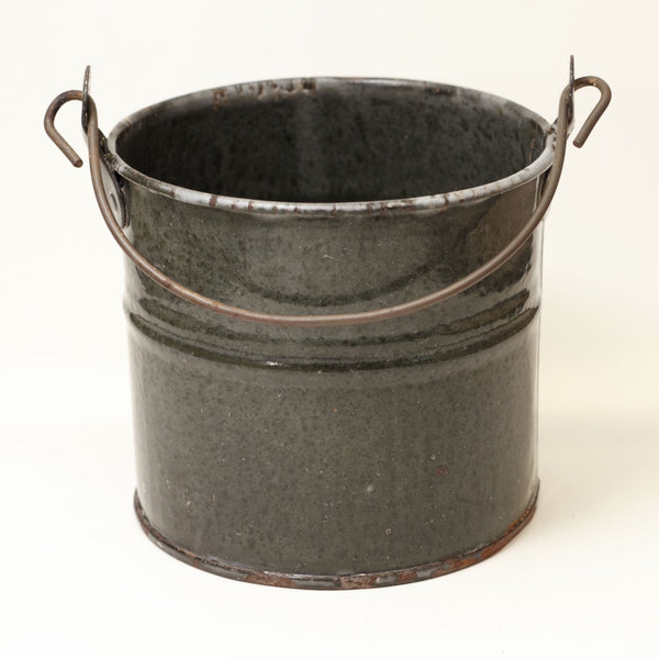 Small Antique Mottled Gray Granite Ware Bucket 4-Inches Tall