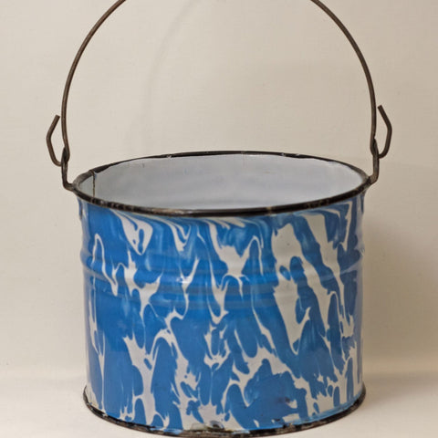 GRANITE WARE WATER BUCKET with Bright Blue and White Swirl Black Trim Circa 1880 - 1920