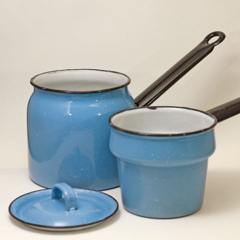 GRANITE WARE DOUBLE BOILER Gorgeous Robin Egg Blue with White Specks