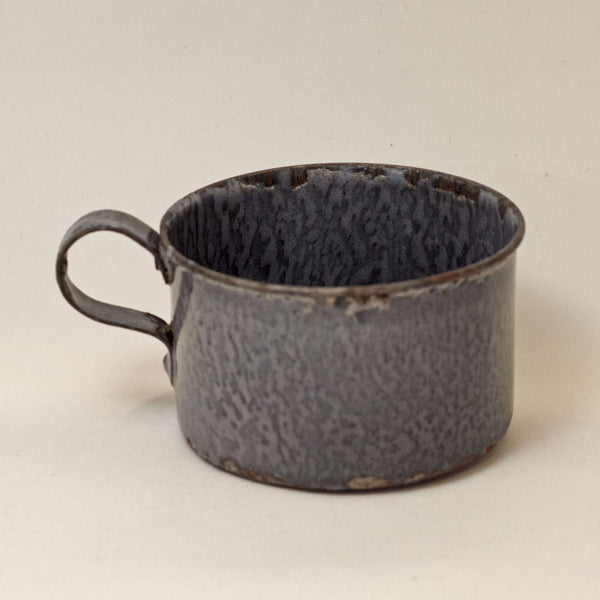 GRANITE WARE CHILD'S CUP with Mottled Gray Enamel