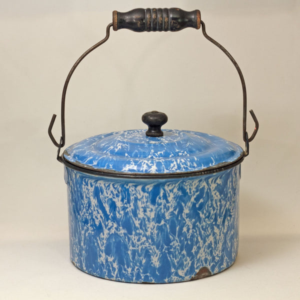 GRANITEWARE WATER PAIL with Lid Blue and White Swirl Circa 1880 - 1920