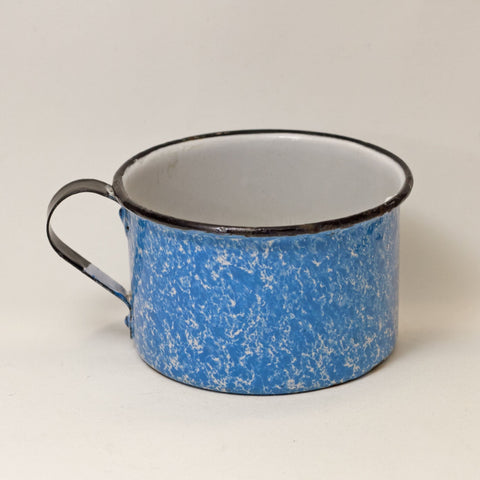 Antique GRANITE WARE 16-OUNCE CUP Vintage Blue and White Speckled