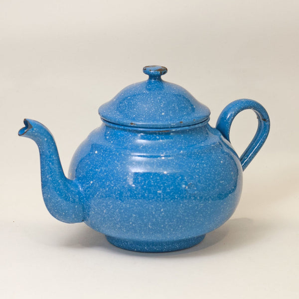 GRANITEWARE TEA KETTLE Blue and White Speckled Early 20th Century