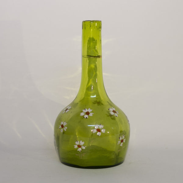 VICTORIAN ENAMELED BARBER BOTTLE Apple Green Colored Glass with Gold Gilt and Hand Painted White Enamel Daisies Circa 1880-1910