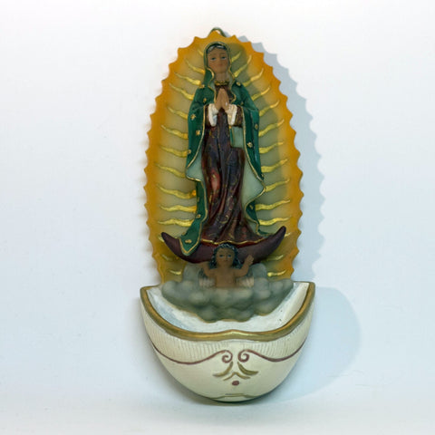 Fine Resin HOLY WATER FONT Depicting OUR LADY OF GUADALUPE Imported by Malco Florentine Collection