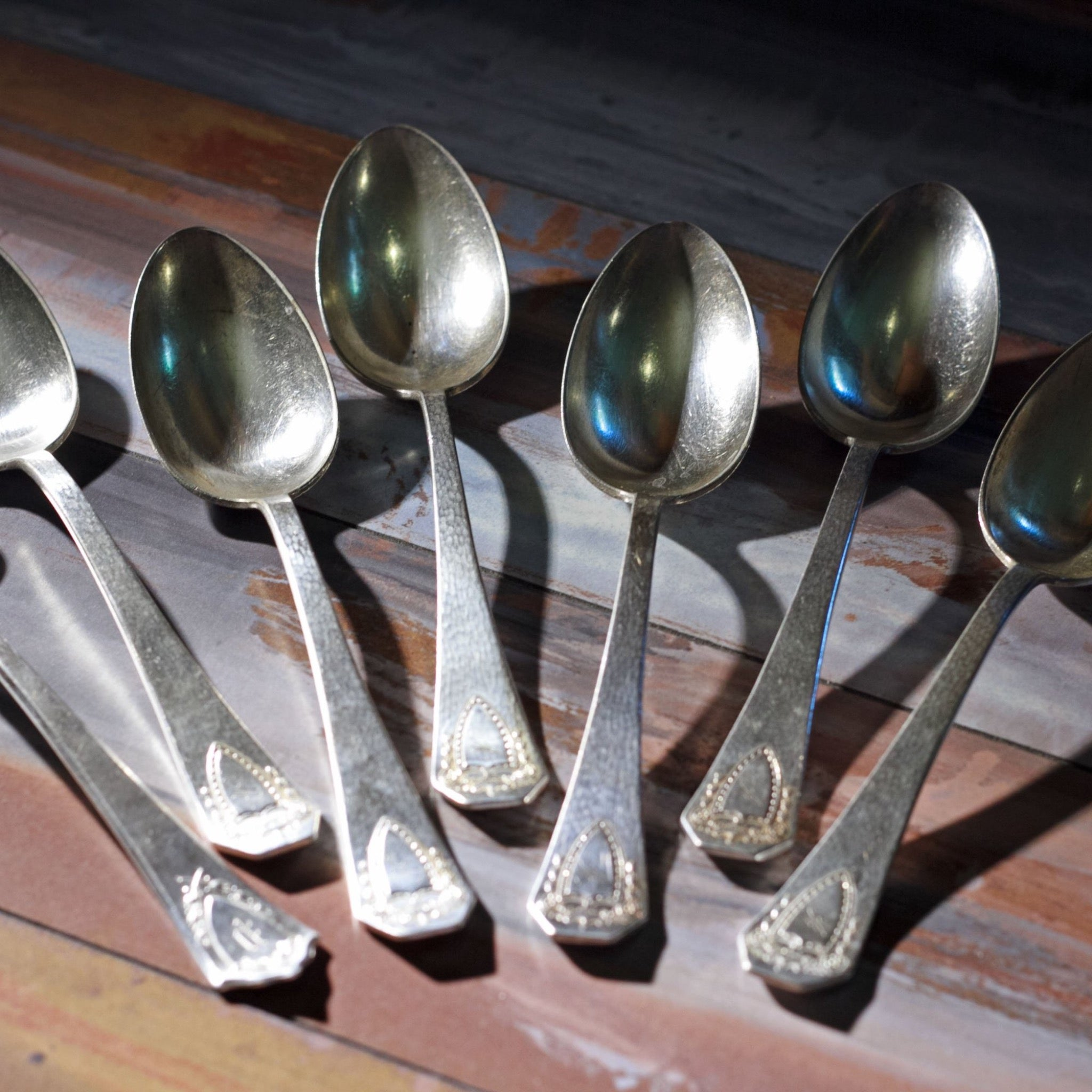 HERALDIC SILVER PLATE SERVING SPOONS by Rogers Brothers Set of Six (6)