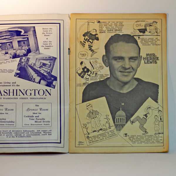 Rare 1940-41 INDIANAPOLIS CAPITALS Hockey Preview Program Coach Herbie Lewis