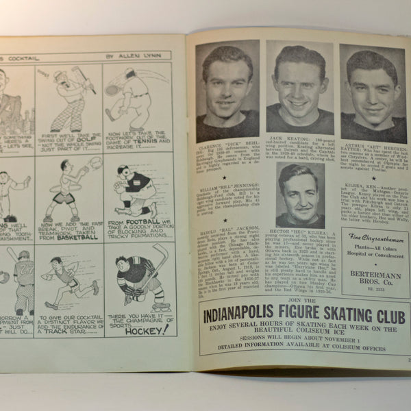 Rare 1940-41 INDIANAPOLIS CAPITALS Hockey Preview Program Player Photos Stats