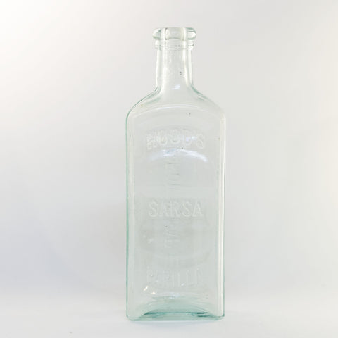 HOOD'S SARSAPARILLA APOTHECARIES Aqua Glass Bottle Lowell Massachusetts Circa 1878 - 1922