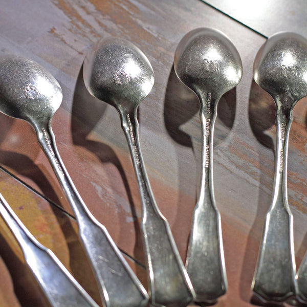LAUREL SILVER PLATE TEASPOONS by 1835 R. Wallace Silver Lot of Ten (10)