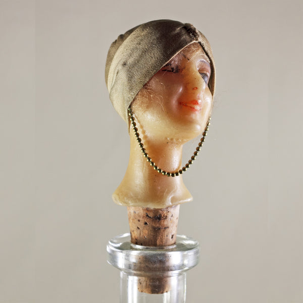 FRENCH MANNEQUIN HEAD Bottle Stopper Art Deco Circa 1920s RARE
