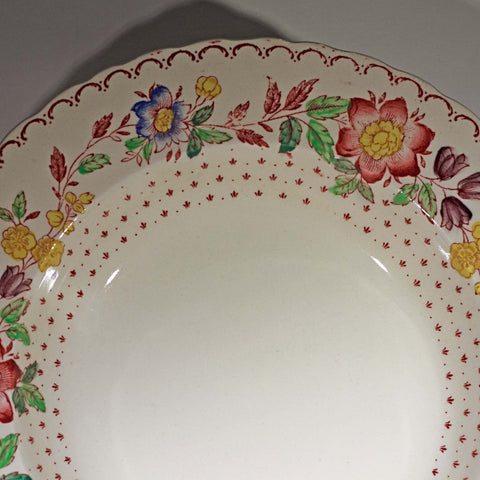 MASON'S PATENT IRONSTONE Rimmed Soup Bowl in Arbor Pattern