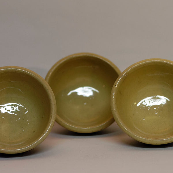 American YELLOWWARE SMALL BANDED BOWLS Set of Three (3) Circa Late 19th to Early 20th Century