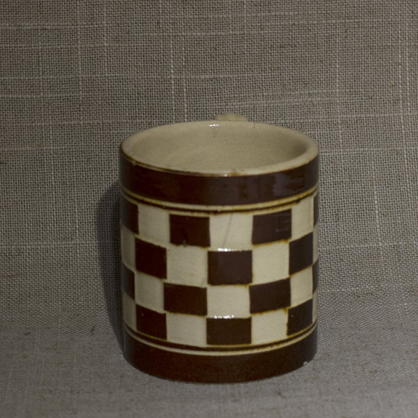 Antique MOCHA WARE Mug Checkerboard Pattern in Ivory and Chocolate Brown Marked AUSTRIA 00 Circa Early 19th Century