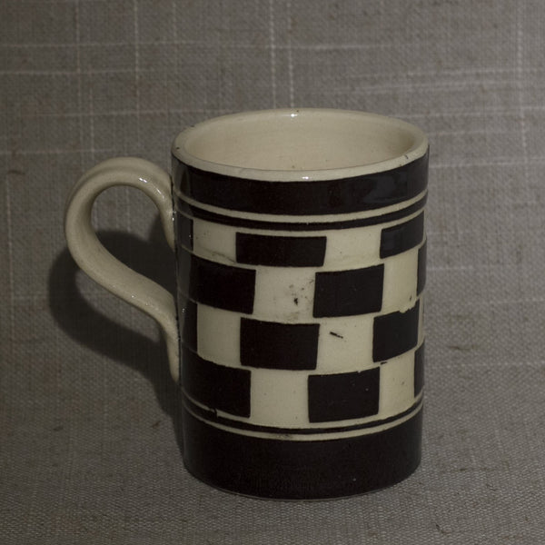 Antique English MOCHA WARE Brown and Cream Checkerboard Pattern Mug Circa Early 19th Century