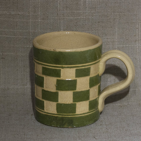 Antique English MOCHA WARE Checkerboard Pattern Mug Green and Tan Circa Early 19th Century