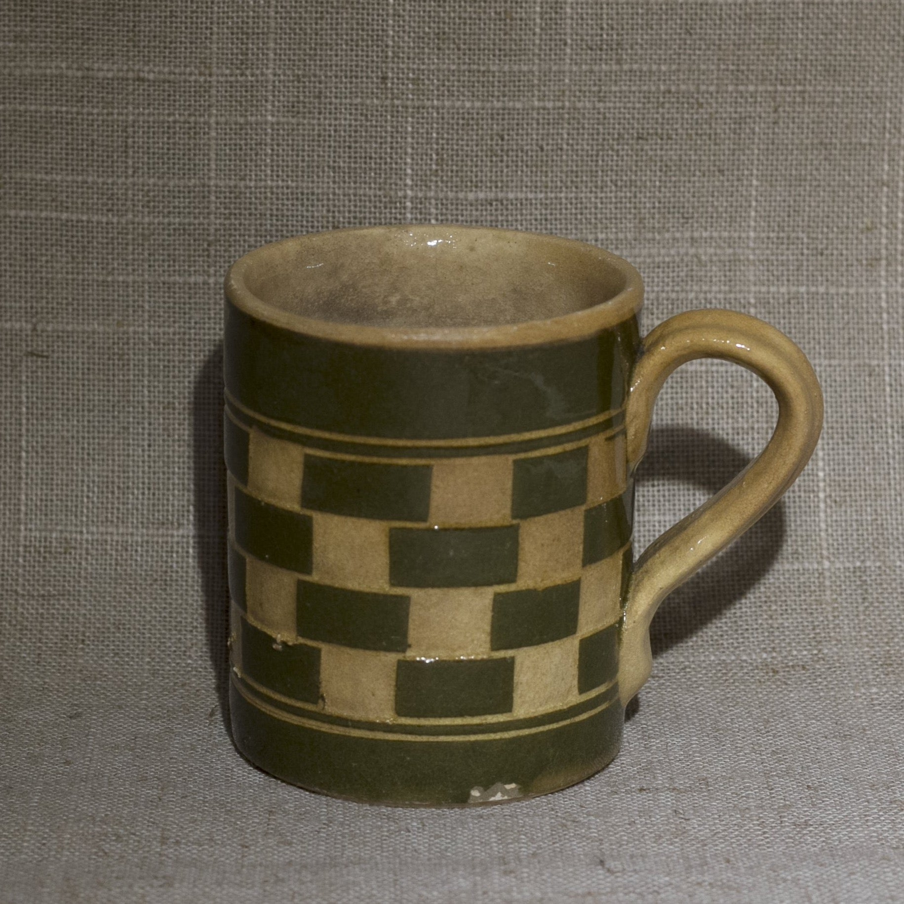 Antique English MOCHA WARE Mug with Tan and Olive Green Checkerboard Circa Early 19th Century