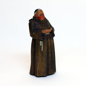 Vintage WOOD FRANCISCAN FRIAR Wearing Wire Glasses Saint Francis of Assisi