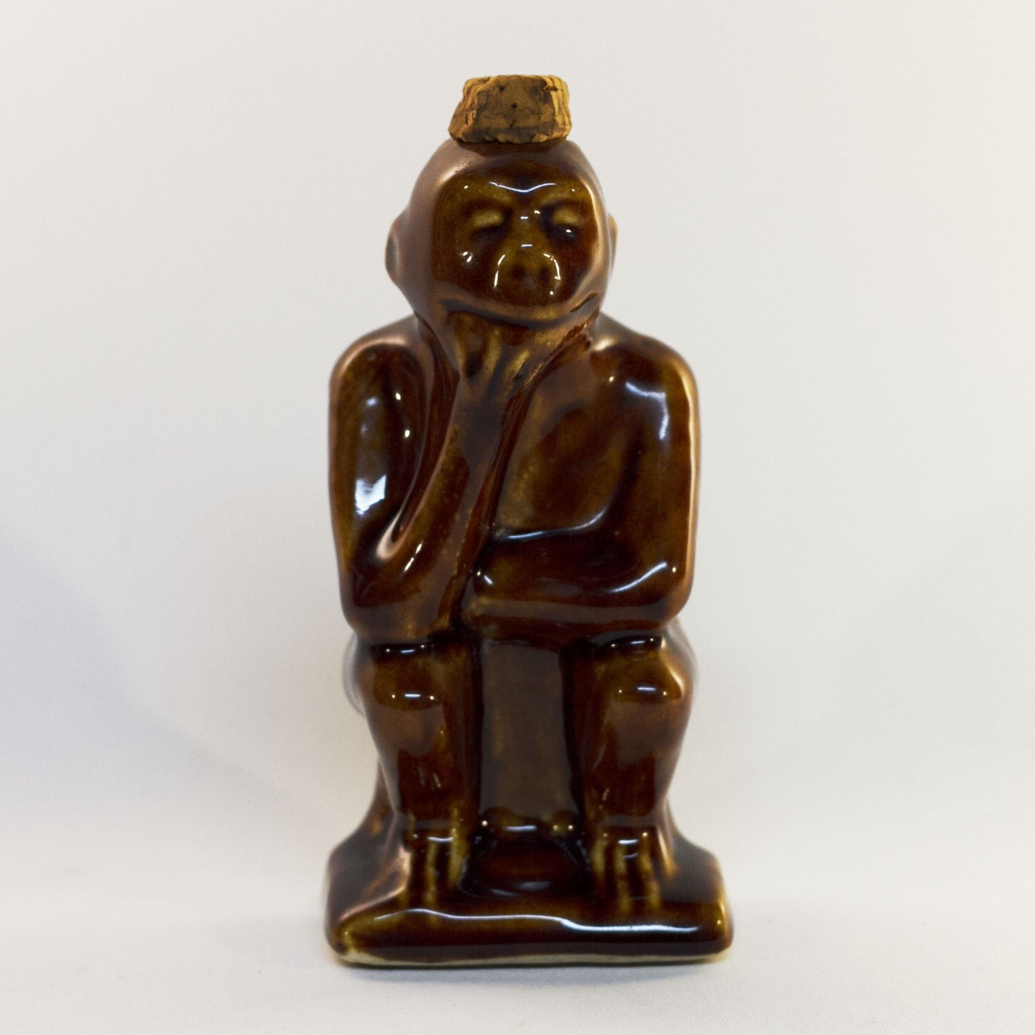 Early ART POTTERY Brown Glazed Bottle SITTING or THINKING MONKEY