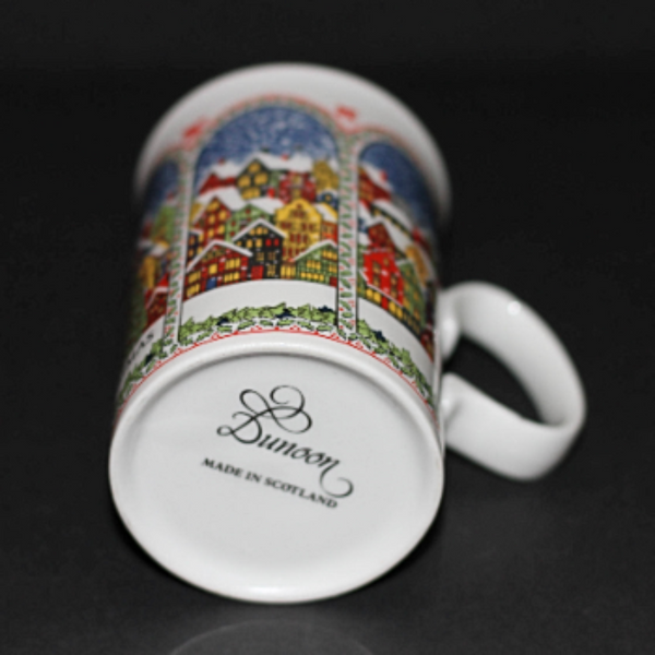 DUNOON SUE SCULLARD Bone China Mug Snowy Christmas Village