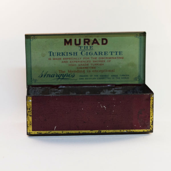 MURAD THE TURKISH CIGARETTE TIN Early Orientalist Themed Lithograph Produced by S. Anargyros Circa Early 1900s