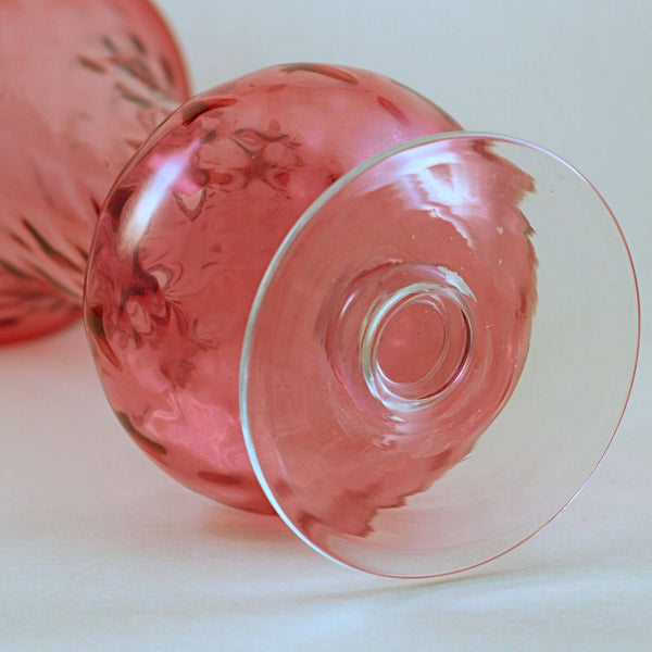 PILGRIM CRANBERRY GLASS Pair of Vintage Footed Vases
