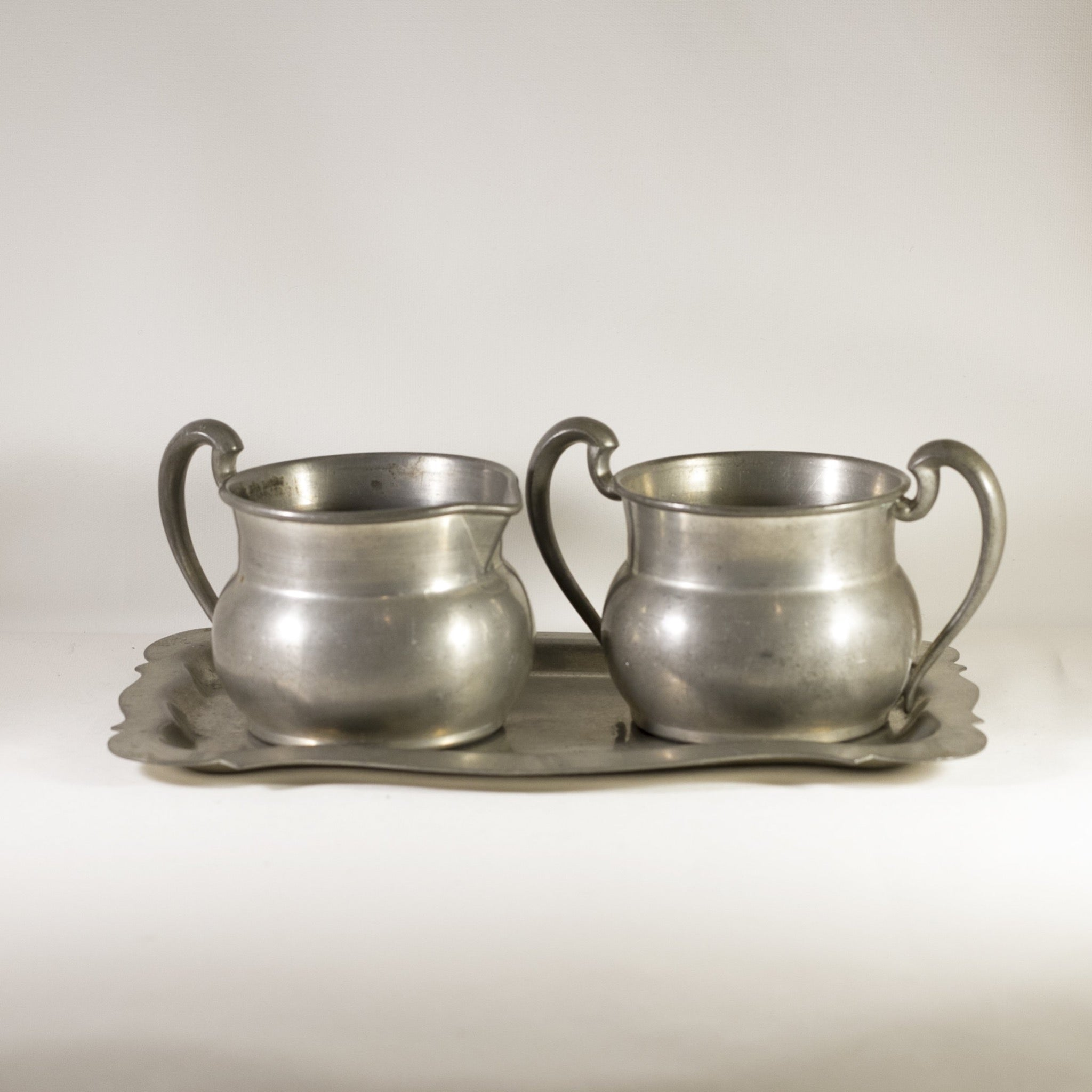 SOLID PEWTER Vintage Cream and Sugar Set with Underplate