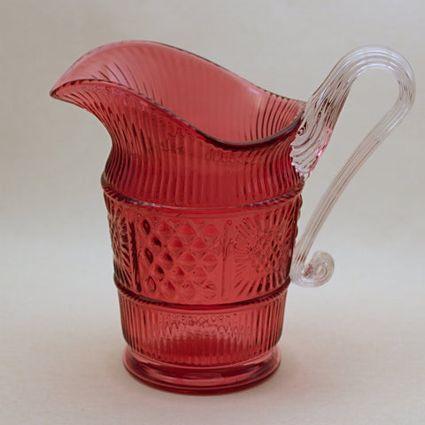 FENTON CRANBERRY GLASS Adams Rib Quilt Block Pitcher