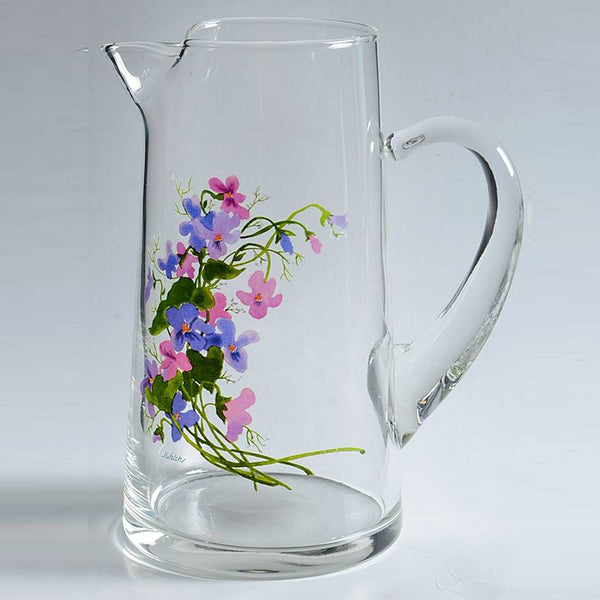 WILD VIOLETS COLLECTION By Avon Hand Painted Crystal Lemonade Pitcher Made in France 22K Gold
