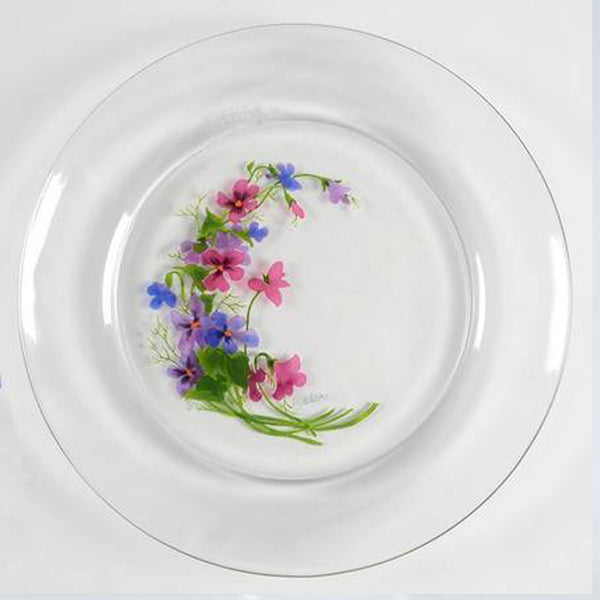 WILD VIOLETS COLLECTION By Avon Hand Painted Crystal Salad Plate Made in France 22K Gold