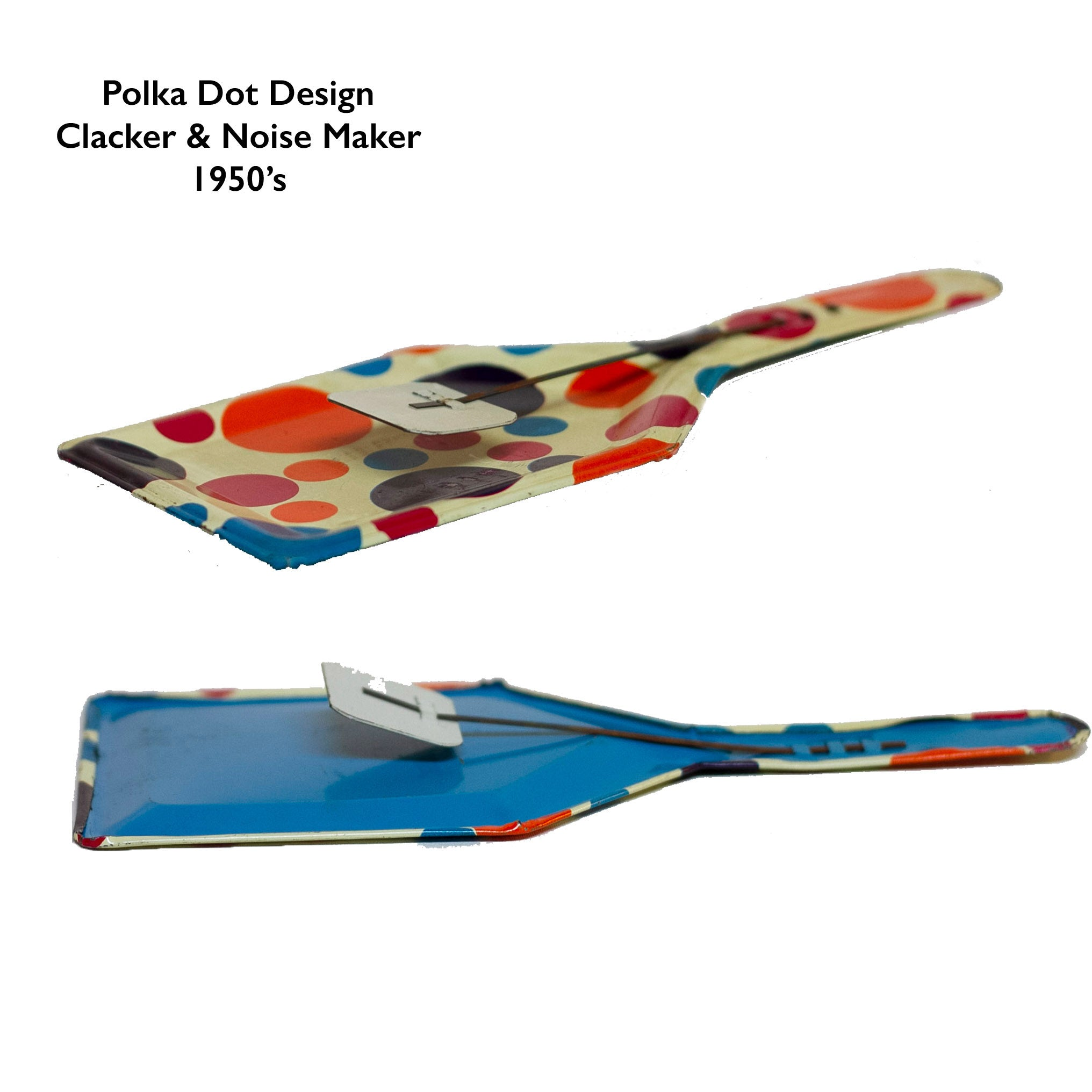 TIN-LITHOGRAPH POLKA DOT CLACKER 1950s NOISEMAKER. The lithograph on the shovel shaped noisemaker is filled with red, orange, purple, and blue polka dots. Appears to be a style that was part of a Party Time set made by the U.S. Metal Toy Manufacturing Company of Brooklyn, New York, but the lithograph is not marked.
